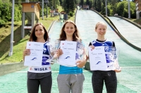 Podium konkursu kobiet (od lewej: D.Trambitas, A.Twardosz, A.Moberg), fot. Alicja Kosman / PZN