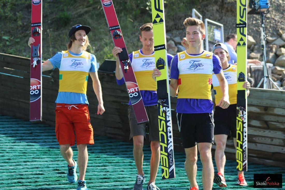 Norweska drużyna triumfująca w Wiśle (od lewej: T.Hilde, J.Hauer, J.A.Forfang, A.Fannemel), fot. Julia Piątkowska