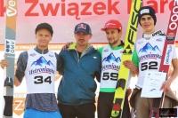 Czołowa trójka konkursu (Huber, Eisenbichler, Insam) z Adamem Małyszem, fot. Julia Piątkowska