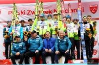 Podium drużynowych MP w Wiśle (od lewej: WSS Wisła, AZS Zakopane, LKS Klimczok Bystra), fot. Julia Piątkowska