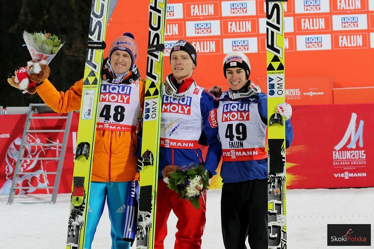 Podium MŚ w Falun na skoczni HS-100 (od lewej: S.Freund, R.Velta, S.Kraft), fot. Julia Piątkowska