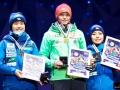 Podium zawodów kobiet (od lewej: Ito, Vogt, Takanashi), fot. Flawia Krawczyk / Julia Piątkowska