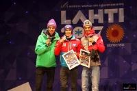 Medaliści konkursu MŚ na skoczni HS-130 w Lahti (od lewej: A.Wellinger, S.Kraft, P.Żyła), fot. Julia Piątkowska