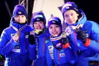 Japończycy z brązowymi medalami (od lewej: D.Ito, Y.Ito, S.Takanashi, T.Takeuchi), fot. Julia Piątkowska