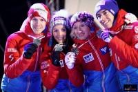 Austriacy ze srebrnymi medalami (od lewej: Hayboeck, Seifriedsberger, Iraschko-Stolz, Kraft), fot. Julia Piątkowska