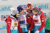 Austriacy na podium (od lewej: Seifriedsberger, Kraft, Hayboeck, Iraschko-Stolz), fot. Julia Piątkowska