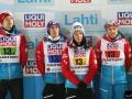 Austriacy na podium (od lewej: Hayboeck, Kraft, Seifriedsberger, Iraschko-Stolz), fot. Julia Piątkowska