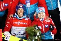 Stefan Kraft i Chiara Hoelzl (fot. Julia Piątkowska)