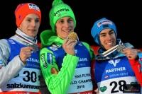 Medaliści MŚ w lotach (od lewej: Gangnes, Prevc, Kraft), fot. Bartosz Leja