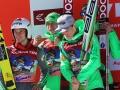 Słoweńcy na podium w Planicy, fot. Julia Piątkowska