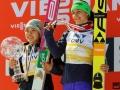 Podium klasyfikacji generalnej PŚ Pań (od lewej: S.Takanashi, M.Vtic), fot. Julia Piątkowska