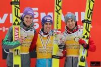 Podium klasyfikacji generalnej PŚ w lotach (od lewej: A.Wellinger, S.Kraft, K.Stoch), fot. Julia Piątkowska