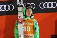 Domen Prevc na podium (fot. Julia Piątkowska)