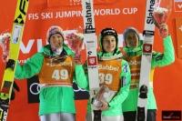 Podium konkursu (od lewej: S.Freund, D.Prevc, P.Prevc), fot. Julia Piątkowska