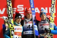 Podium konkursu (Stoch, Wellinger, Hayboeck), fot. Bartosz Leja