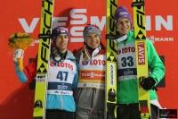Podium konkursu (od lewej: S.Kraft, K.Stoch, A.Wellinger), fot. Julia Piątkowska