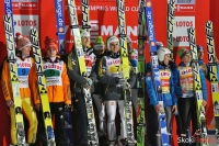 Podium konkursu drużynowego (Niemcy, Słoweńcy, Austriacy), fot. Bartosz Leja