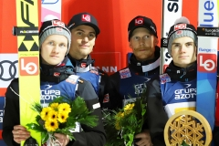 Norwescy skoczkowie - od lewej: Markeng, Tande, Johansson, Lindvik (fot. Julia Piątkowska)