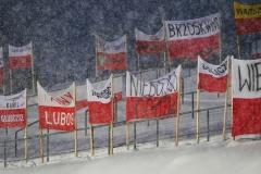 Polskie flagi na pustych trybunach (fot. Julia Piątkowska)