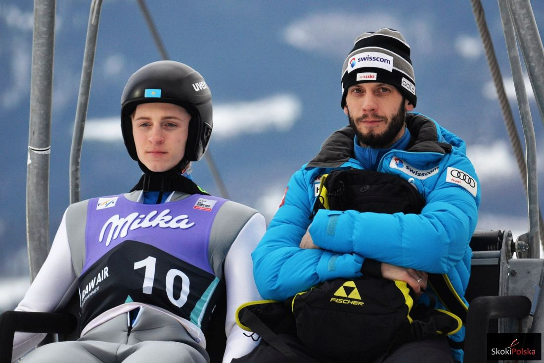 Sergey Tkachenko i trener Szwajcarów Ronny Hornschuh (fot. Maria Grzywa)