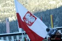 Polska flaga na trybunach Grosse Olympiaschanze, fot. Julia Piątkowska
