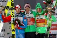 Podium zawodów (od lewej: M.Hayboeck, S.Freund, P.Prevc), fot. Julia Piątkowska
