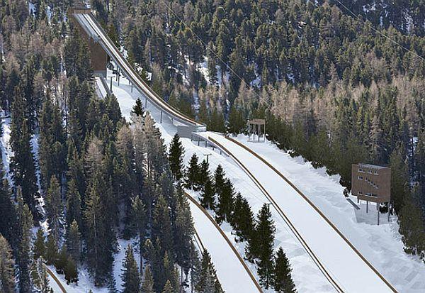 Sankt.Moritz kompleks.skoczni wizualizacja swiss ski.ch - PLANY BUDOWY SKOCZNI NARCIARSKICH w SZWAJCARSKIM SANKT MORITZ