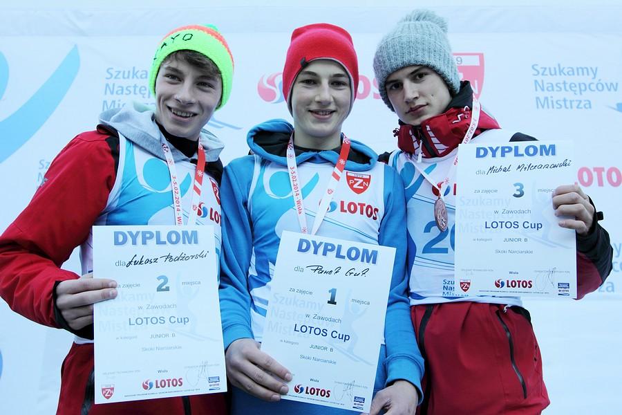 Podium w kategorii junior B (od lewej: Łukasz Podżorski, Paweł Gut, Michał Milczanowski), fot. Alicja Kosman