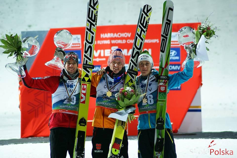 podium MŚ w lotach (Anders Bardal, Severin Freund i Peter Prevc),  fot. Bartosz Leja