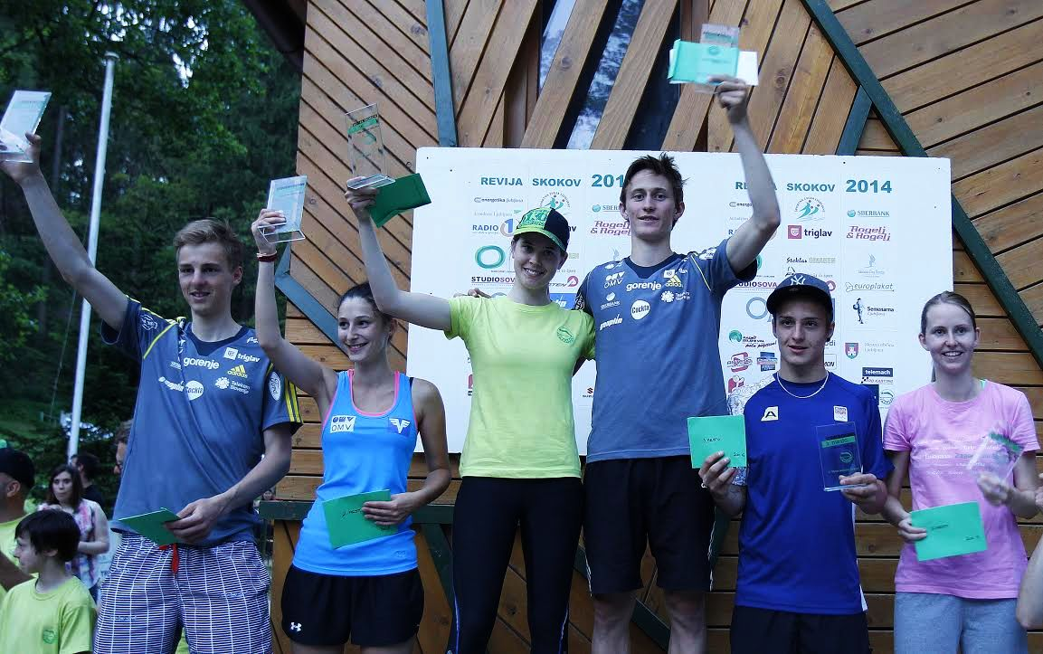 Podium konkursu (od lewej: Hvala, Wiegele, Bogataj, Prevc, Portyk, Pozun), fot. sskilirija.com