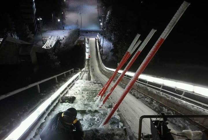 Widok ze szczytu skoczni 'Ounasvaara' w Rovaniemi