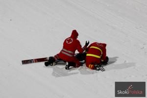 Nicholas Fairall po upadku w konkursie w Bischofshofen, fot. Julia Piątkowska