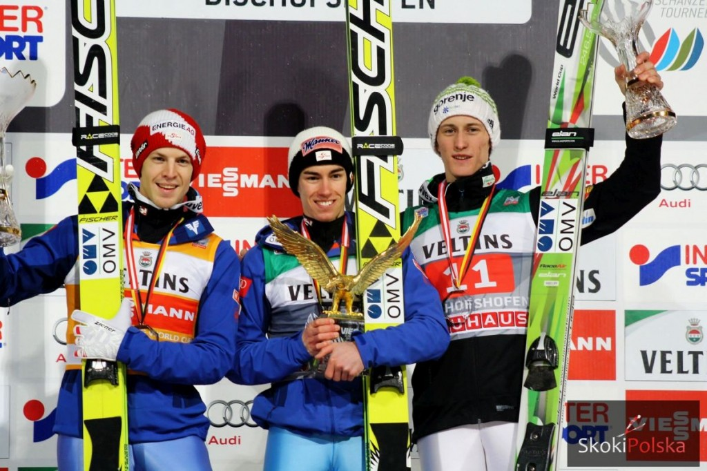 Hayboeck, Kraft i Prevc, podium ostatniego TCS, fot. Julia Piątkowska