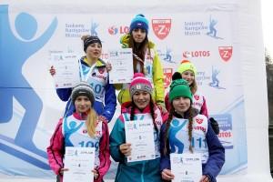 Podium w kat. kobiet (od lewej na górze: Szwab, Pałasz, Rajda), fot. Alicja Kosman / PZN