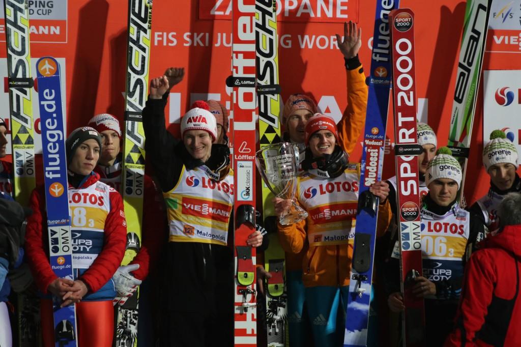 podium konkursu drużynowego w Zakopanem 2015, (zwycięski skład Niemców w środku), fot. Julia Piątkowska