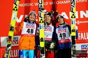 Podium MŚ Falun 2015 (od lewej: S.Freund, R.Velta, S.Kraft), fot. Julia Piątkowska
