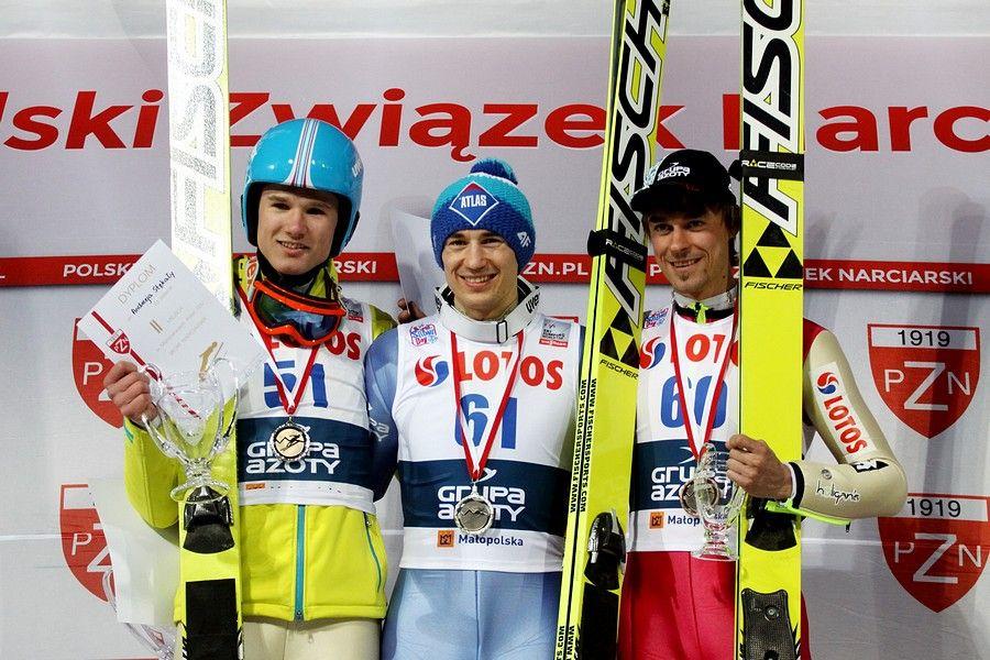 Podium konkursu (od lewej: A.Stękała, K.Stoch, P.Żyła), fot. Alicja Kosman / PZN