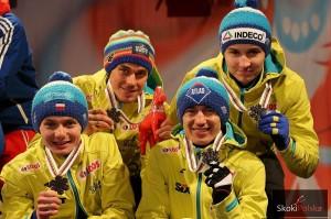 Polscy medaliści w Falun (od lewej: Ziobro, Żyła, Stoch, Murańka), fot. Julia Piątkowska
