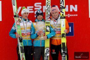 Peter Prevc, Kamil Stoch, Severin Freund - od kilku lat niemal nierozłączne trio na podium (fot. Julia Piątkowska)