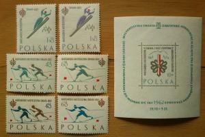 Pamiątkowe znaczki pocztowe z Mistrzostw Świata FIS w Zakopanem (1962)