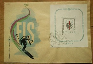 Pamiątkowa koperta z Mistrzostw Świata FIS w Zakopanem (1962)