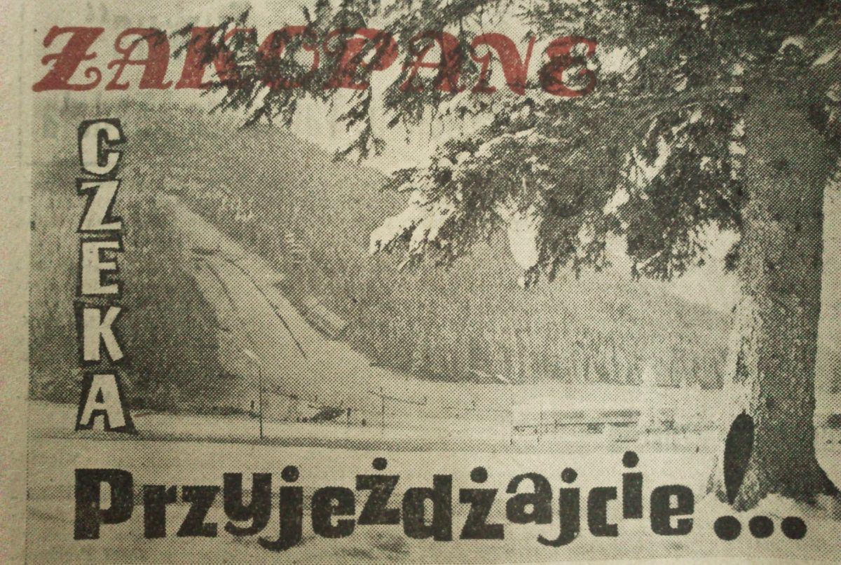 """Zakopiańska Wielka Krokiew w 1962 r. (fot. gazeta sportowa """"Tempo"""")"""