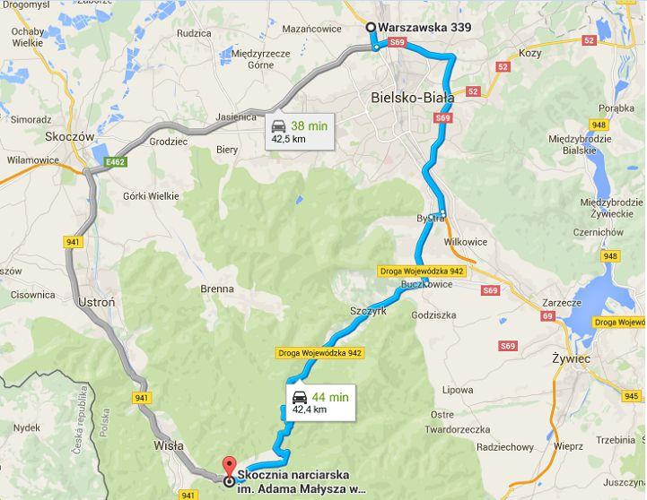 LGP.Wisla .2015 mapa Wisla.droga  - Organizacja ruchu podczas FIS Grand Prix i Mistrzostw Polski w Wiśle