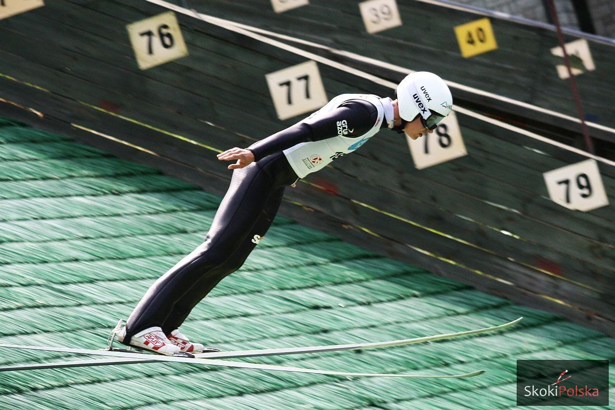 Lider Pucharu Kontynentalnego Klemens Murańka na skoczni w Szczyrku (fot. Julia Piątkowska)