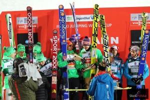 Podium konkursu - (od lewej: Słoweńcy, Niemcy i Austriacy), fot. Julia Piątkowska