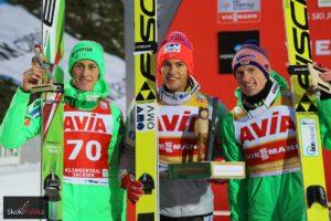 Daniel-Andre Tande na najwyższym stopniu podium w Klingenthal, fot. Julia Piątkowska