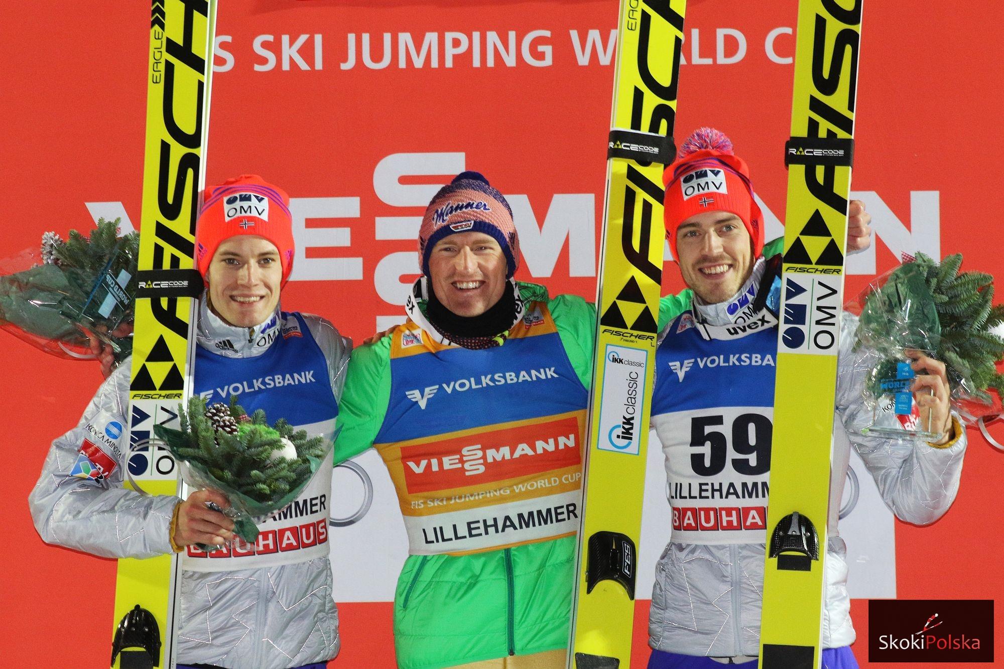 Podium konkursu (od lewej: K.Gangnes, S.Freund, A.Stjernen), fot. Julia Piątkowska