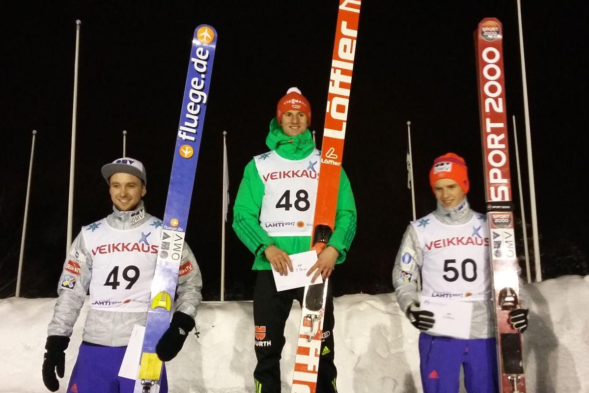 Podium zawodów (od lewej: F.Bjerkeengen, K.Geiger, H.E.Halvorsen), fot. Heikki Karjalainen