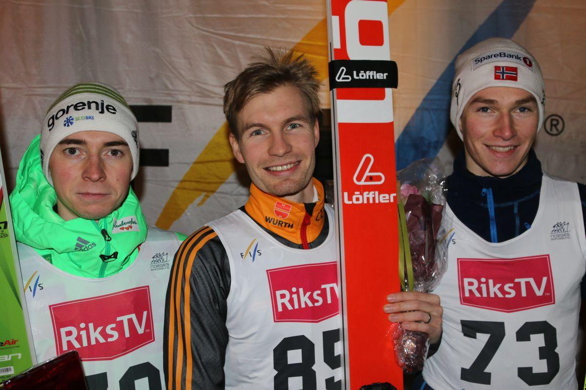 FIS.Cup .Notodden.2015 Zupancic.Queck Pedersen fot.Tveitanbakken Notodden Facebook1 - FIS Cup Notodden: Danny Queck zwycięża, słabsi Polacy w finale