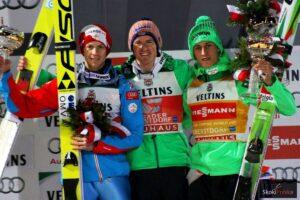 Podium PŚ (TCS) Oberstdorf 2015 - od lewej: M.Hayboeck, S.Freund, P.Prevc (fot. Julia Piątkowska)